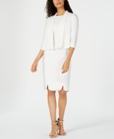 Kasper Flyaway Jacket & Textured Sheath Dress