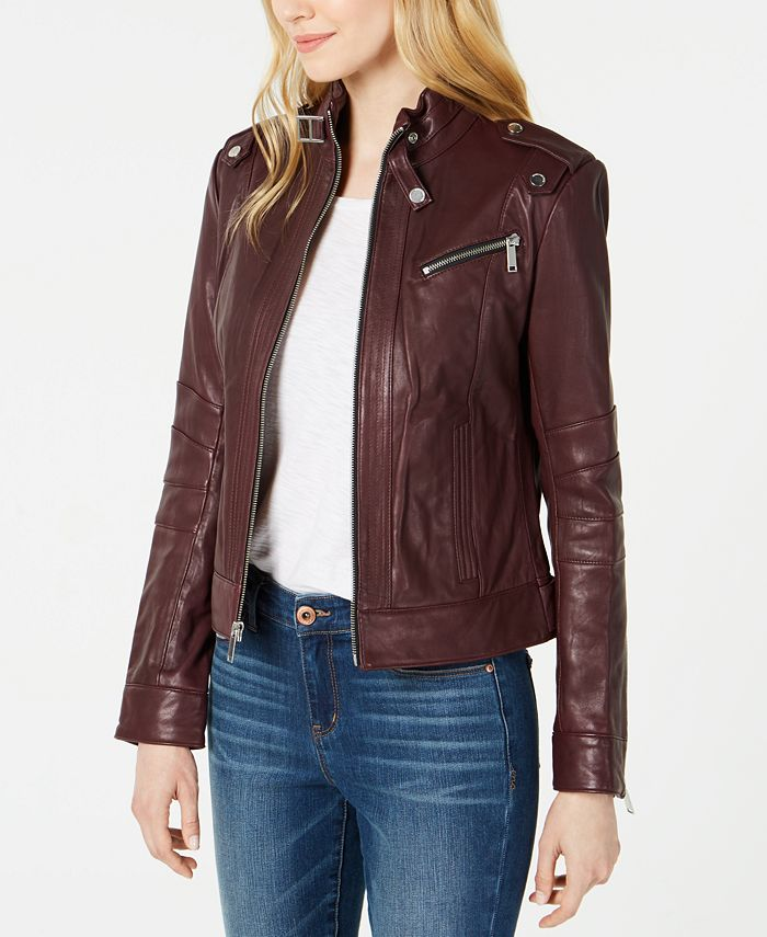 Marc New York - Front-Zip Leather Moto Jacket
