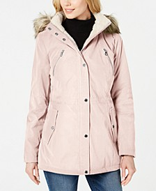 Faux-Fur-Trim Hooded Anorak Coat