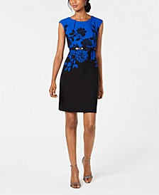 Petite Belted Sheath Dress