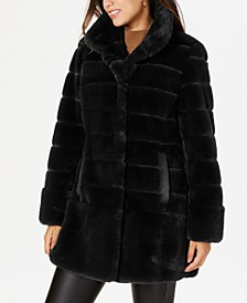 Petite Faux-Leather-Pocket Faux-Fur Coat