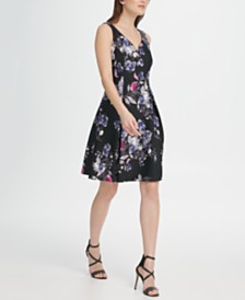 DKNY Floral Scuba Sweetheart Neck Fit & Flare Dress