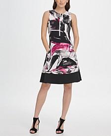 Scuba Contrast Hem Zipper Fit & Flare Dress