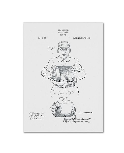"Trademark Global Claire Doherty 'Baseball Glove Patent 1905 White' Canvas Art - 24"" x 32"""