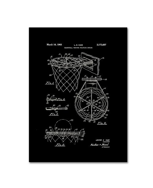 "Trademark Global Claire Doherty 'Basketball Hoop Patent 1965 Black' Canvas Art - 24"" x 32"""