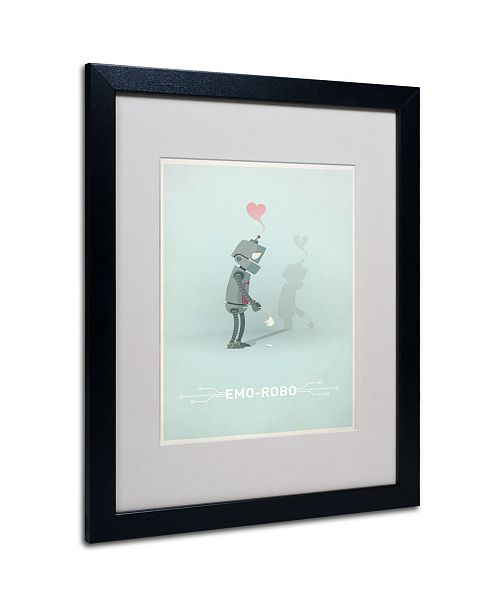 "Trademark Global Christian Jackson 'Sad Robot' Matted Framed Art - 20"" x 16"""