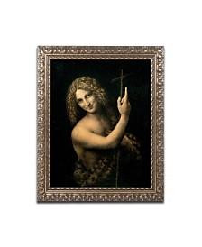 """Leonardo da Vinci 'St. John the Baptist' Ornate Framed Art - 14"""" x 11"""""""