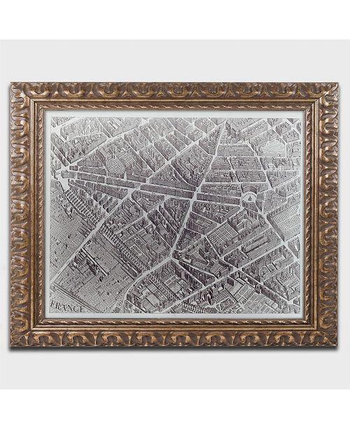 """Trademark Global Claude Lucas 'Plan de Turgot 1734' Ornate Framed Art - 14"""" x 11"""""""