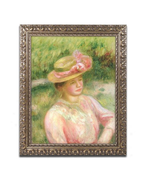 "Trademark Global Pierre Auguste Renoir 'The Straw Hat' Ornate Framed Art - 11"" x 14"""