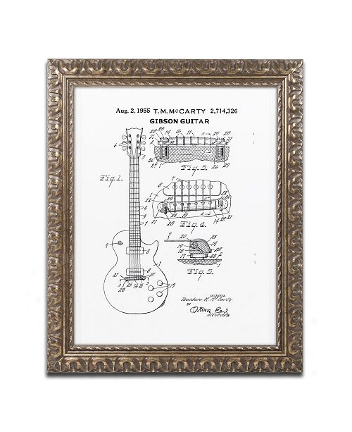 """Trademark Global Claire Doherty '1955 Mccarty Gibson Guitar White' Ornate Framed Art - 16"""" x 20"""""""