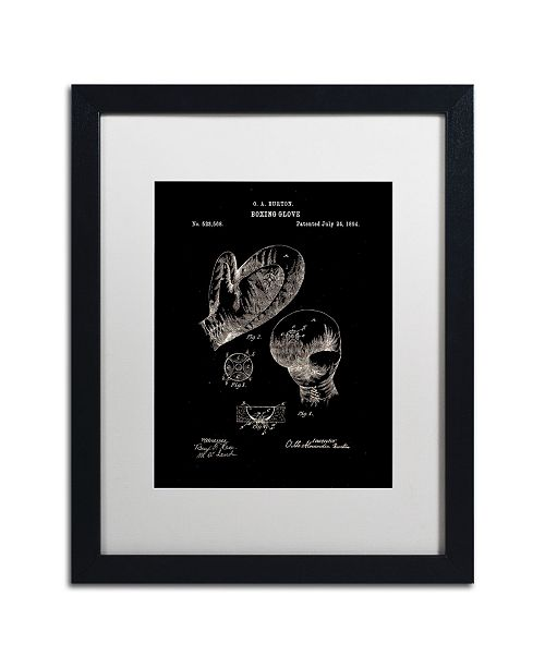 "Trademark Global Claire Doherty 'Boxing Gloves Patent 1894 Black' Matted Framed Art - 16"" x 20"""