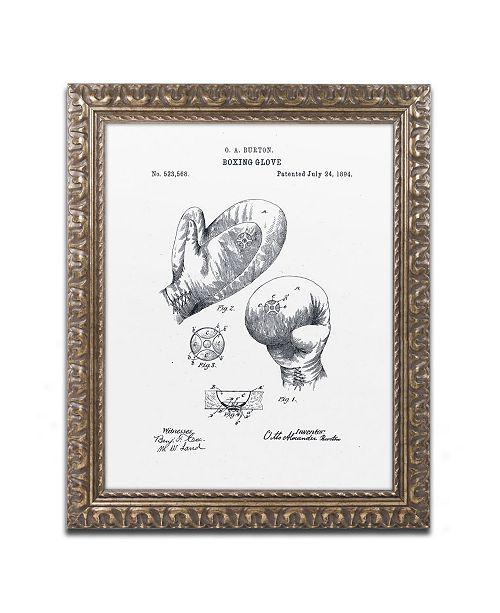 """Trademark Global Claire Doherty 'Boxing Gloves Patent 1894 White' Ornate Framed Art - 16"""" x 20"""""""