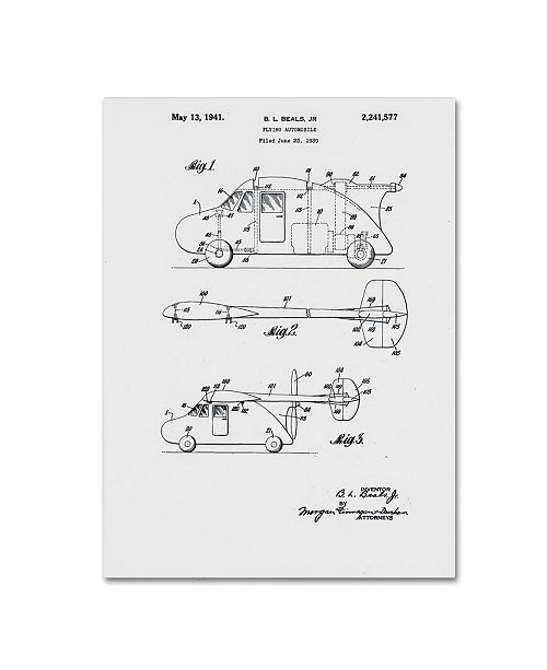 "Trademark Global Claire Doherty 'Flying Car Patent 1941 White' Canvas Art - 35"" x 47"""