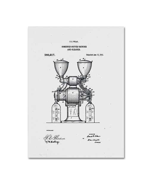 """Trademark Global Claire Doherty 'Coffee Grinder Patent 1911 White' Canvas Art - 18"""" x 24"""""""
