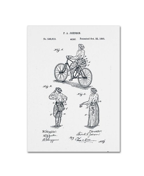 """Trademark Global Claire Doherty 'Cycling Skirt Patent 1885 White' Canvas Art - 35"""" x 47"""""""