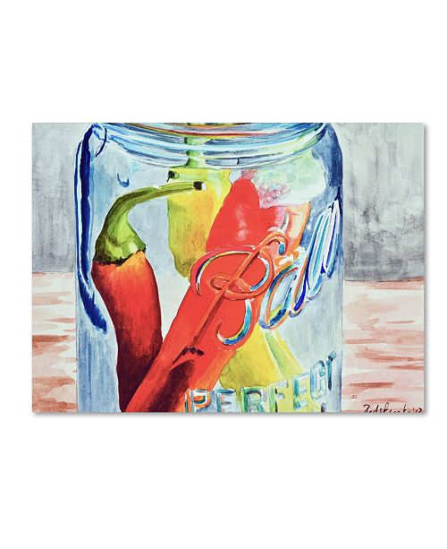 "Trademark Global Jennifer Redstreake 'Ball Jar with 3 Peppers' Canvas Art - 18"" x 24"""