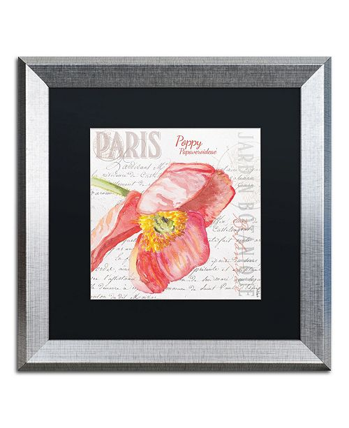 """Trademark Global Jennifer Redstreake 'Paris Botanique Red Poppy' Matted Framed Art - 16"""" x 16"""""""