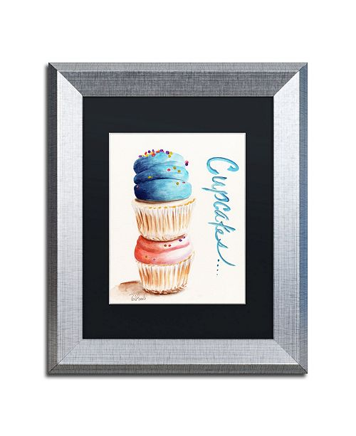 "Trademark Global Jennifer Redstreake 'Stacked Cupcakes with Words' Matted Framed Art - 11"" x 14"""