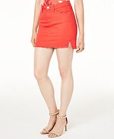 Talia Cotton Raw-Hem Denim Skirt
