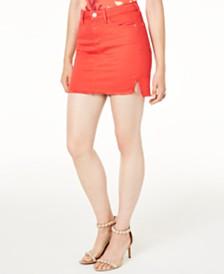 GUESS Talia Cotton Raw-Hem Denim Skirt