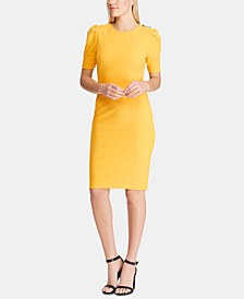 Button-Shoulder Crepe Dress