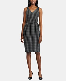 Plaid-Print Belted Jacquard Dress