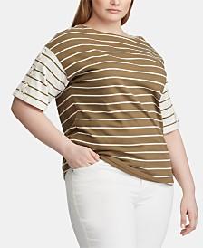 Lauren Ralph Lauren Plus Size Stripe-Print Cotton Lace-Up Top