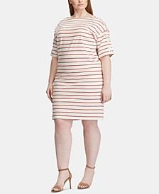 Plus Size Stripe-Print Boat-Neck Cotton Jersey Dress