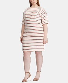 Lauren Ralph Lauren Plus Size Stripe-Print Boat-Neck Cotton Jersey Dress