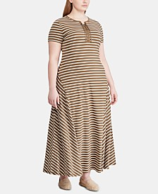 Lauren Ralph Lauren Plus Size Stripe-Print Lace-Up Jersey Maxidress