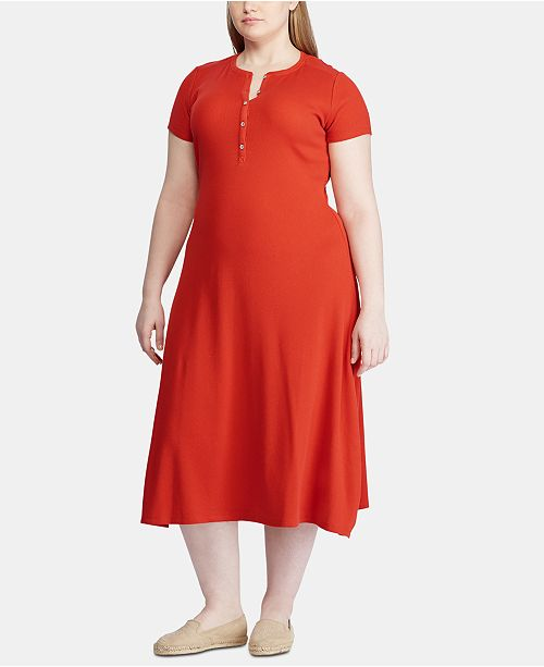 Lauren Ralph Lauren Plus Size Waffle-Knit Cotton Henley Dress