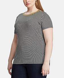 Lauren Ralph Lauren Plus Size Stripe-Print Button-Shoulder Cotton T-Shirt