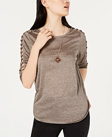 Juniors' Lattice-Sleeve Necklace Top