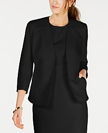 Kasper Collarless Open-Front Blazer
