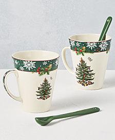 Spode Christmas Tree 2019 Annual 4-Pc. Mug & Spoon Set, Created for Macy's