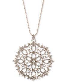 "Marchesa Gold-Tone Crystal & Imitation Pearl Filigree 38"" Pendant Necklace"