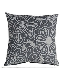 "Nature Inspired Embroidered Throw Pillow Cover 20"" x 20"""