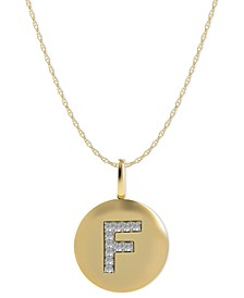 14k Yellow, White, or Rose Gold Necklace, Diamond Letter F Disk Pendant (1/10 ct. t.w.)