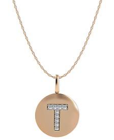 14k Rose Gold Necklace, Diamond Accent Letter T Disk Pendant