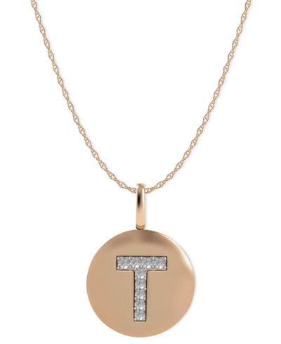 14k Rose Gold Necklace, Diamond Accent Letter T Disk Pendant