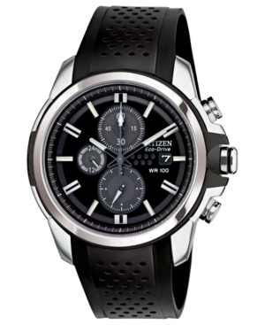 Citizen Men's Chronograph Drive from Citizen Eco-Drive Black Rubber Strap Watch 45mm CA0420-07E
