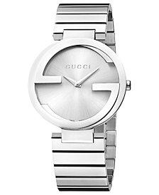 Gucci Unisex Swiss Interlocking Stainless Steel Bracelet Watch 37mm YA133308