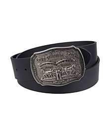 Leather Men's Belt with Plaque Buckle