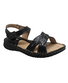 Shaboom Women's Comfort Sandal with Ankle Strap Black