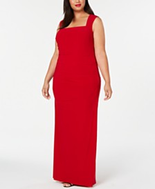 Adrianna Papell Plus Size Cutout-Back Gown