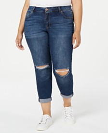 Celebrity Pink Trendy Plus Size Ripped Girlfriend-Fit Jeans