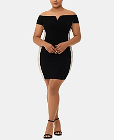 Plus Size Beaded Off-The-Shoulder Sheath Dress