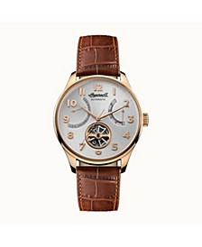 Hawley Automatic with Rose Gold IP Stainless Steel Case, Silver Dial and Brown Croco Embossed Leather Strap