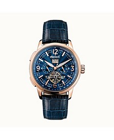 Regent Automatic Chronograph with Rose Gold IP Stainless Steel Case, Blue Dial and Blue Croco Embossed Leather Strap