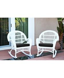 Jeco Santa Maria Wicker Rocker Chair with Cushion - Set of 4